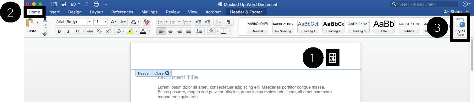 how to style page numbers in word