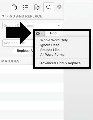 Advanced find and replace in word settings