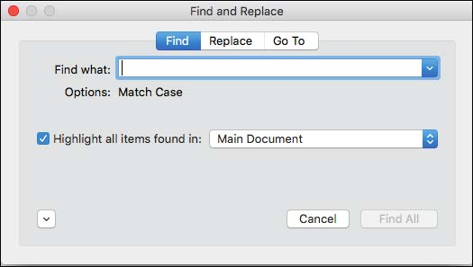 How to find and replace in word