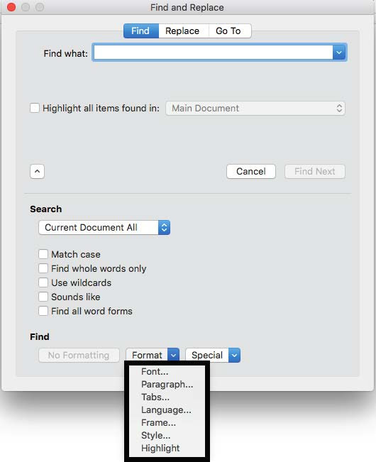 Format in the Find and Replace dialog box