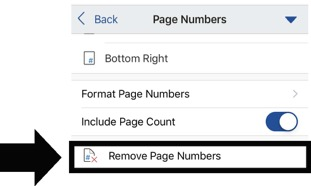 How to add page numbers in Word mobile app options