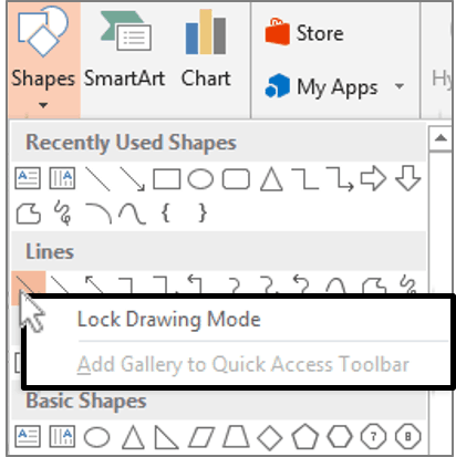 PowerPoint 2013 Lock Drawing Mode