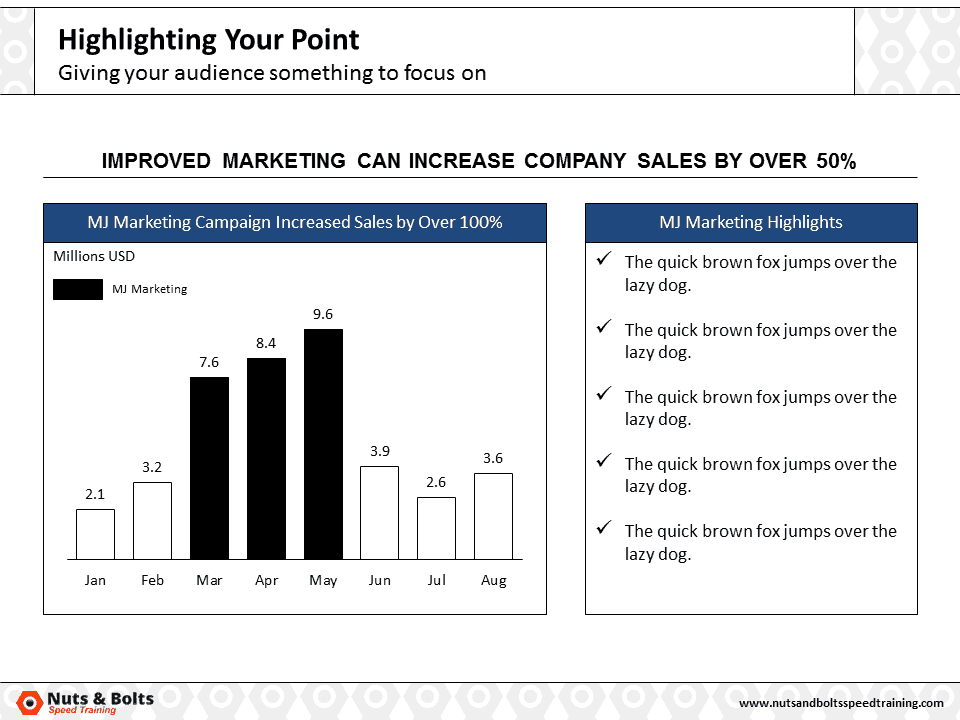 PowerPoint Column Chart Example Highlighting #1
