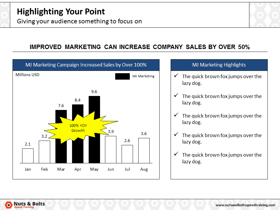 PowerPoint Column Chart Example Highlighting #3