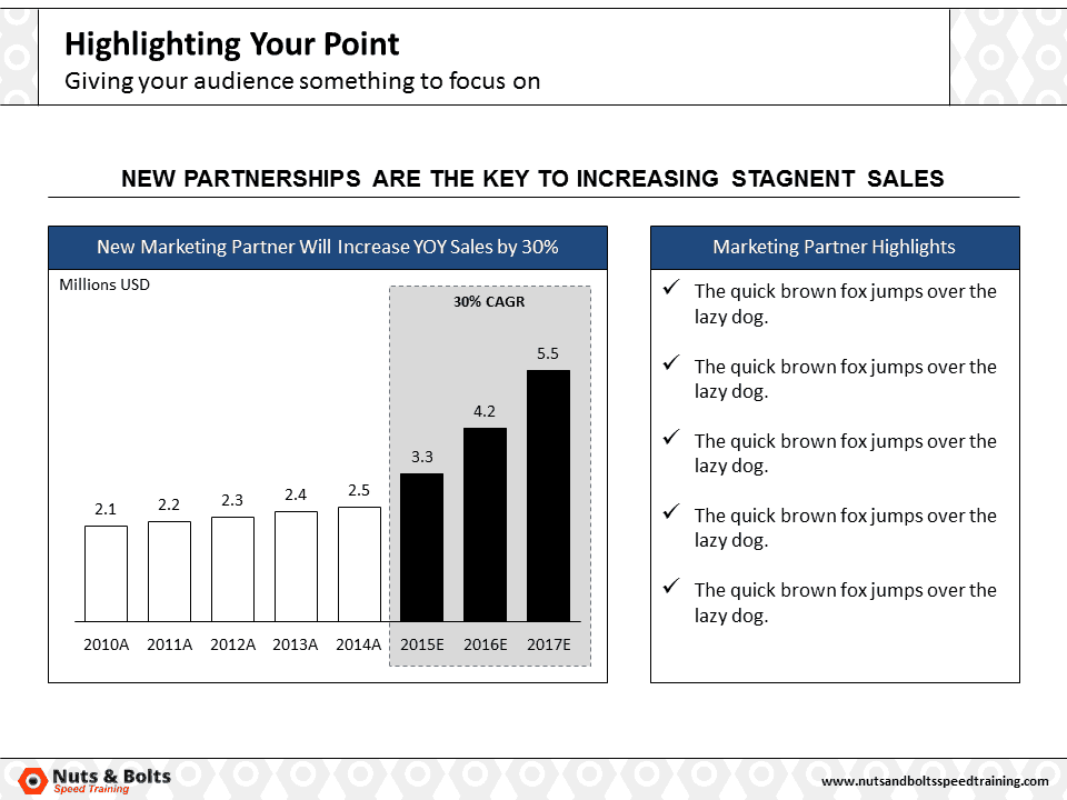 PowerPoint Column Chart Example Highlighting #6