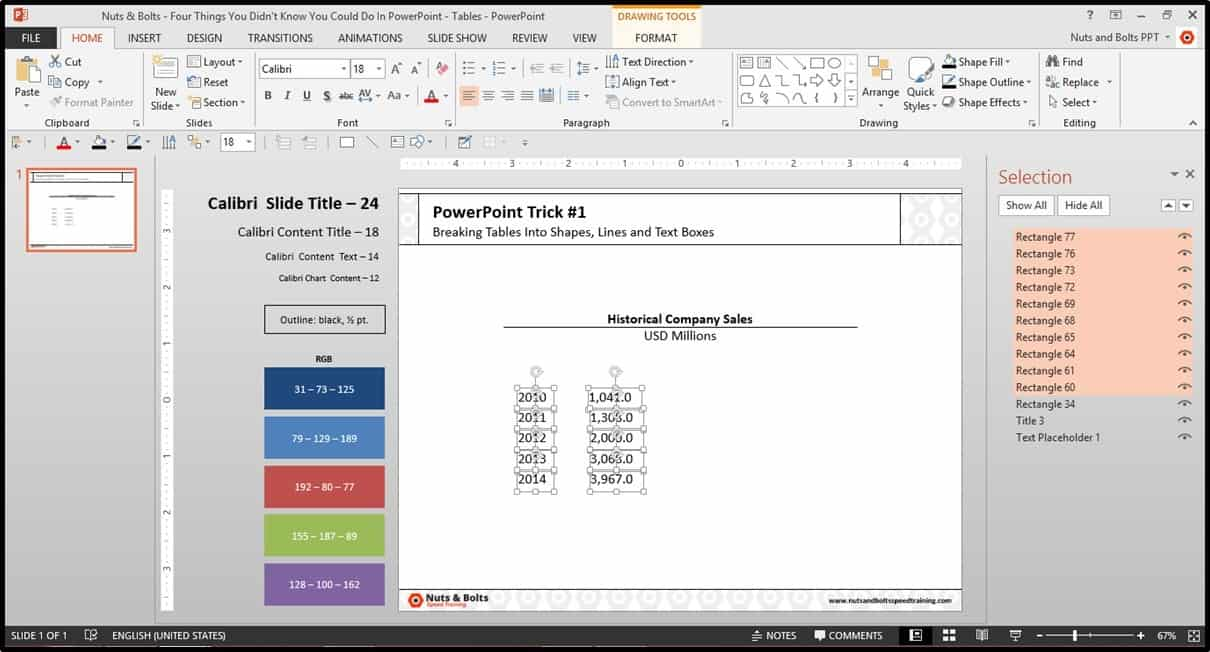 Four Things PowerPoint Trick #1 - Breaking a Table Step #10
