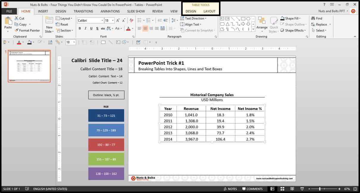 Four Things PowerPoint Trick #1 - Breaking a Table Step #1A