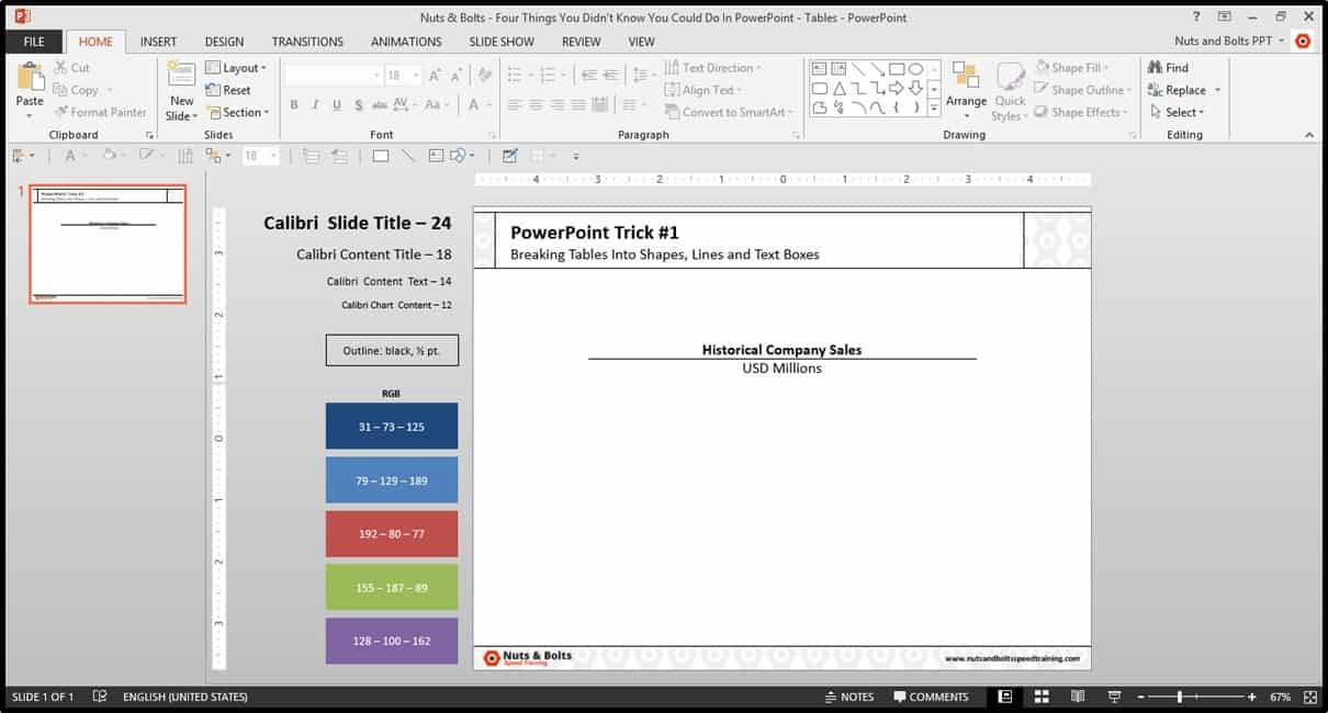 Four Things PowerPoint Trick #1 - Breaking a Table Step #1B