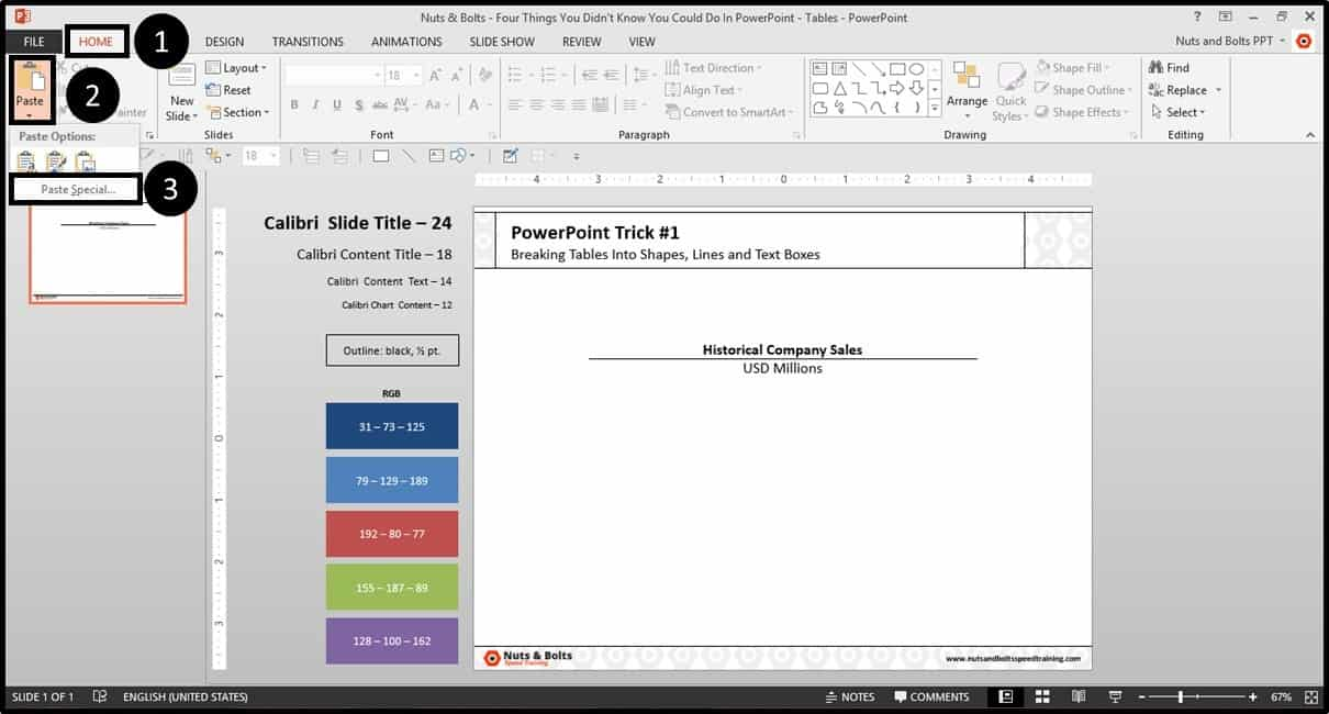 Four Things PowerPoint Trick #1 - Breaking a Table Step #2