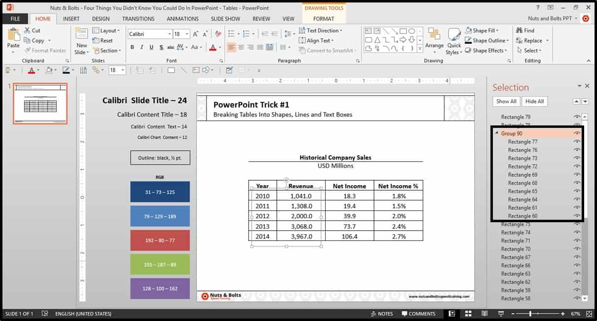 Four Things PowerPoint Trick #1 - Breaking a Table Step #6B