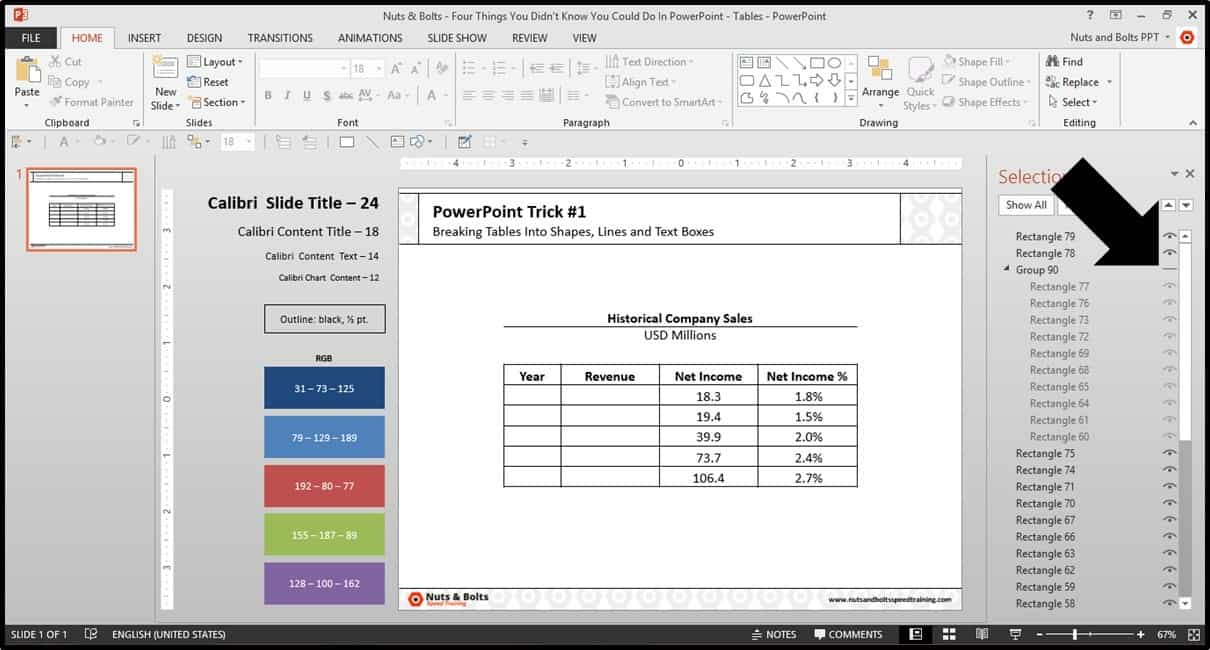 Four Things PowerPoint Trick #1 - Breaking a Table Step #7