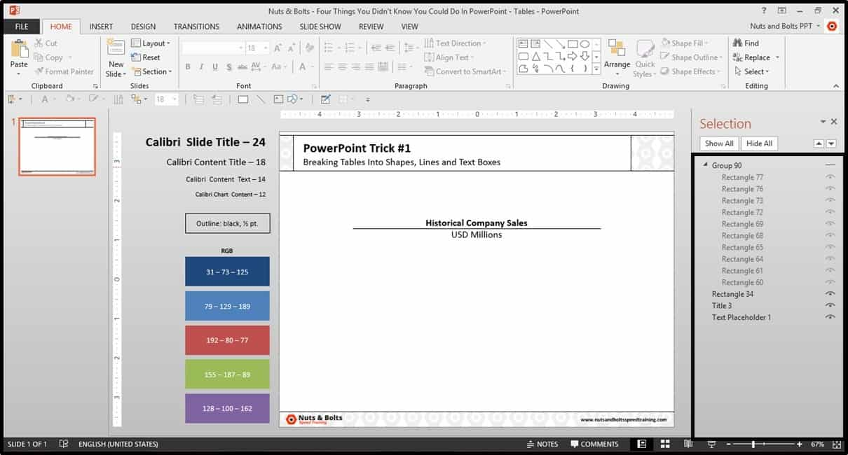 Four Things PowerPoint Trick #1 - Breaking a Table Step #8B