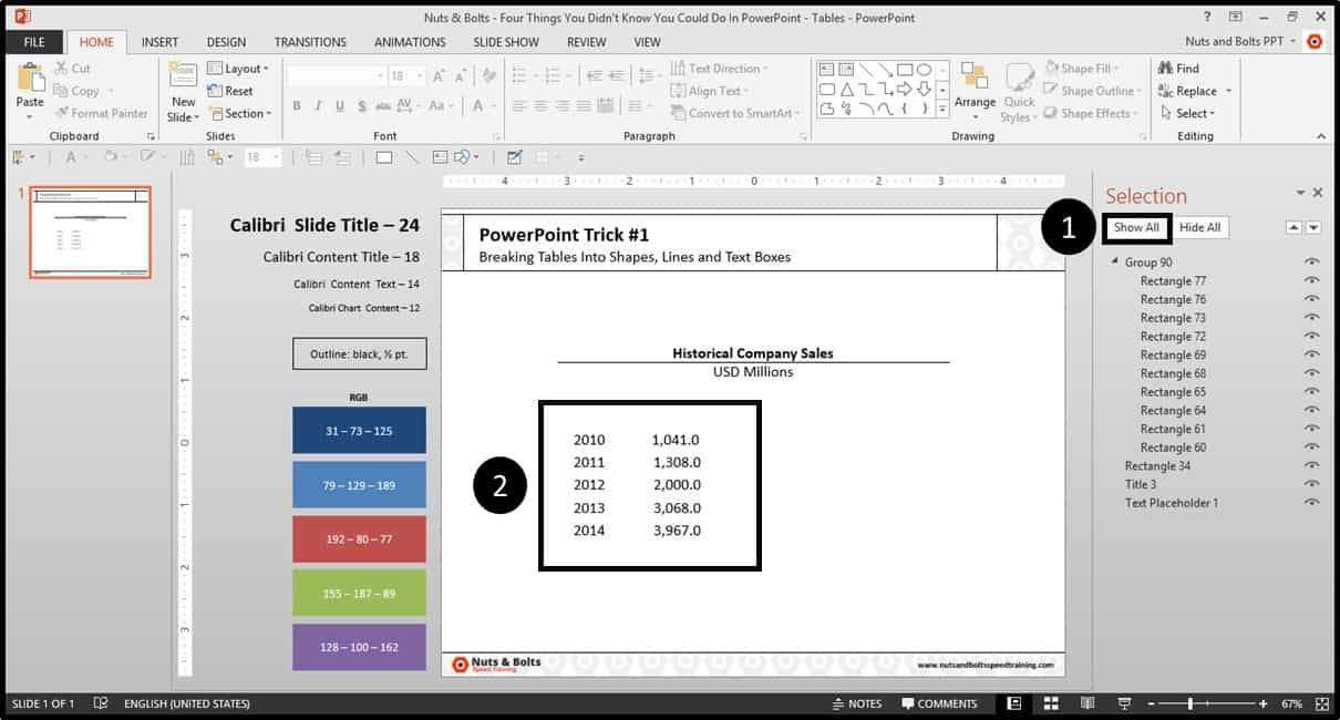 Four Things PowerPoint Trick #1 - Breaking a Table Step #9