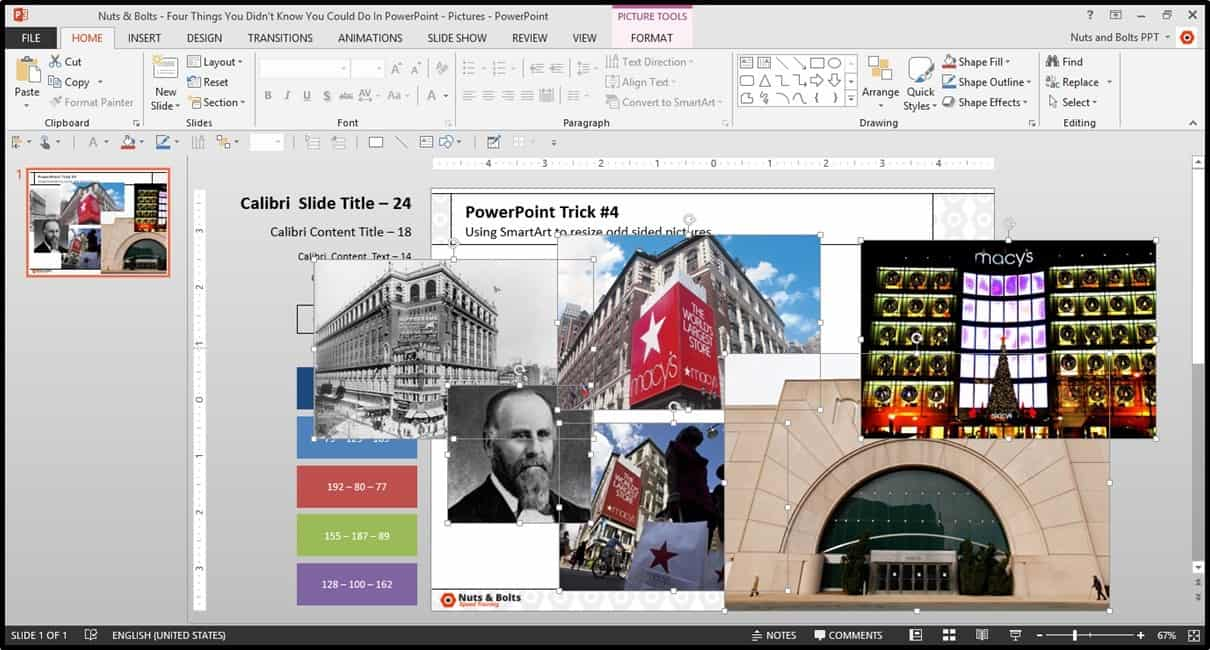 Four Things PowerPoint Trick #4 - Cropping Photos SmartArt Step #1