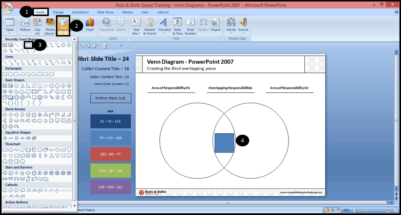 Creating The Middle Piece Of A Venn Diagram In Powerpoint 2007