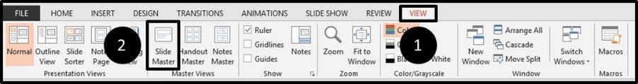 Adding Page Numbers to PowerPoint Step #1 - Slide Master View