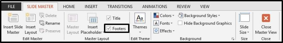 Adding Page Numbers to PowerPoint Step #5B - Footers