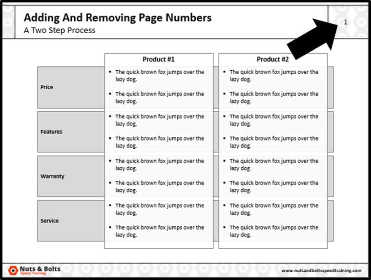 Adding Page Numbers to PowerPoint Step #9 - Page Numbers Appear