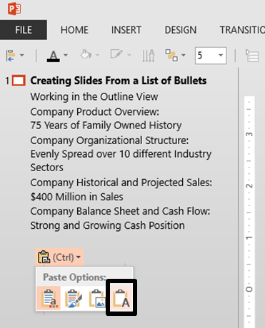 Pasting as Text Only Into the Outline View of PowerPoint