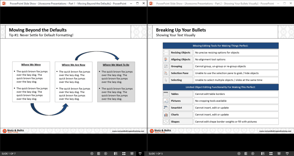 how to view two powerpoint presentations at the same time