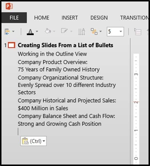 PowerPoint Bullets Into Slides Step#2 - Paste in your bullets