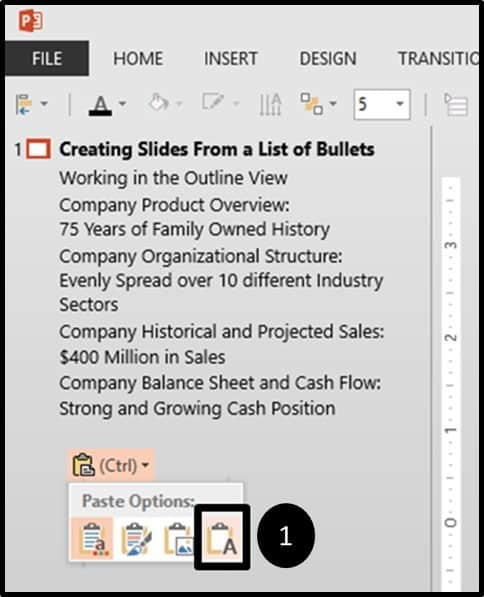 PowerPoint Bullets Into Slides Step#3 - Paste As Text Only