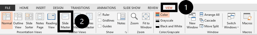 To navigate to the Slide Master view in PowerPoint, click the View tab and select Slide Master