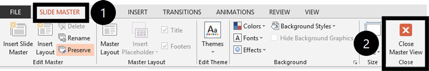 To return to the Normal View, on the Slide Master tab, click the close master view command on the far right of the Ribbon.