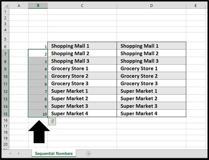 PowerPoint Continous List Excel Step #6 - Input the formulas into all of the cells