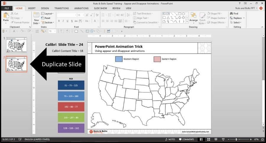 PowerPoint Trigger Objects Step #1 - Duplicate the Slide