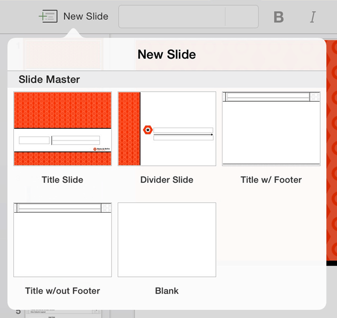 PowerPoint for iPad #1 New Slide Drop Down