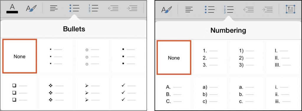 PowerPoint for iPad #9 Bullet and Numbering Options