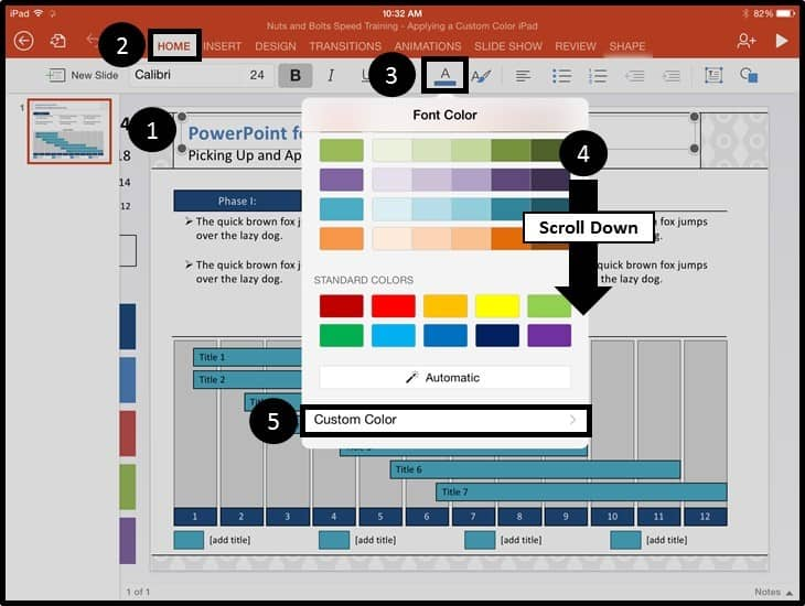 PowerPoint for iPad Custom Color Copy and Apply - Step #1