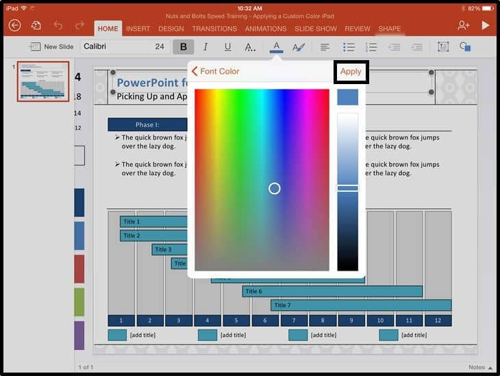 PowerPoint for iPad Custom Color Copy and Apply - Step #2A