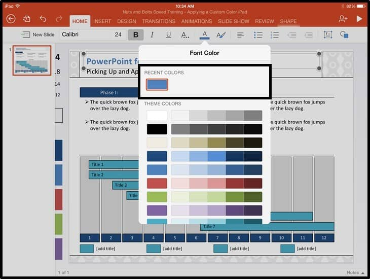 PowerPoint for iPad Custom Color Copy and Apply - Step #2B