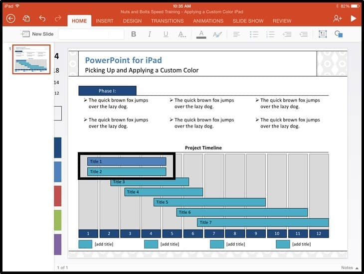 PowerPoint for iPad Custom Color Copy and Apply - Step #3B