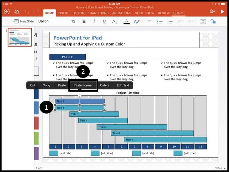 PowerPoint for iPad Custom Color Copy and Apply - Step #5A