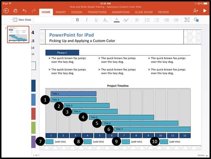 PowerPoint for iPad Custom Color Copy and Apply - Step #5B