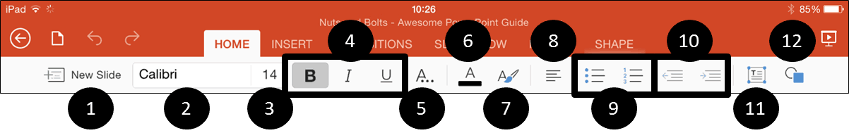 PowerPoint for iPad Home Tab Icons
