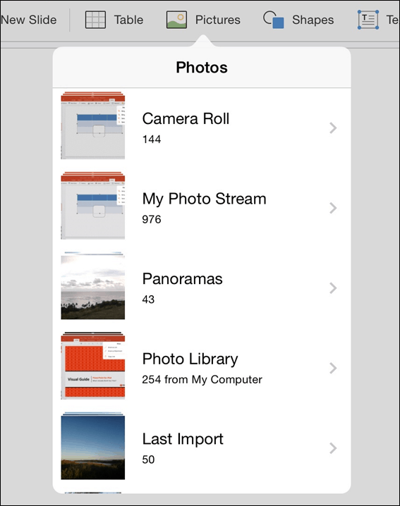 PowerPoint for iPad Insert Tab #3 Pictures
