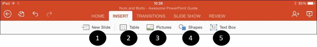 PowerPoint for iPad Insert Tab Icons