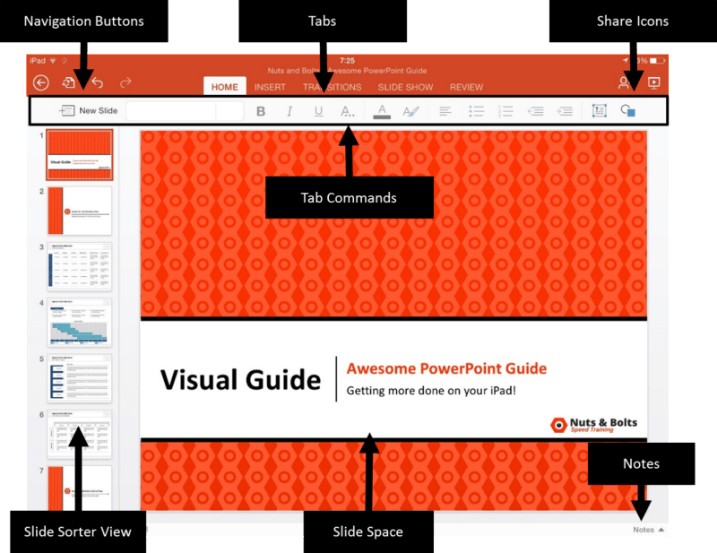 PowerPoint for iPad Navigation Buttons Overview