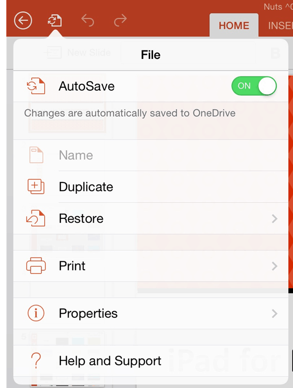 PowerPoint for iPad Navigation File Menu Options
