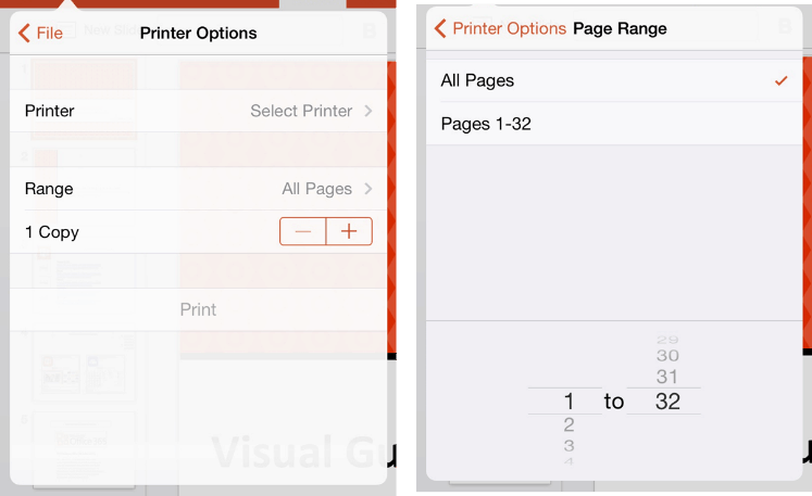 PowerPoint for iPad Navigation File Menu Print Options