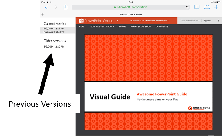 PowerPoint for iPad Navigation File Menu Restore