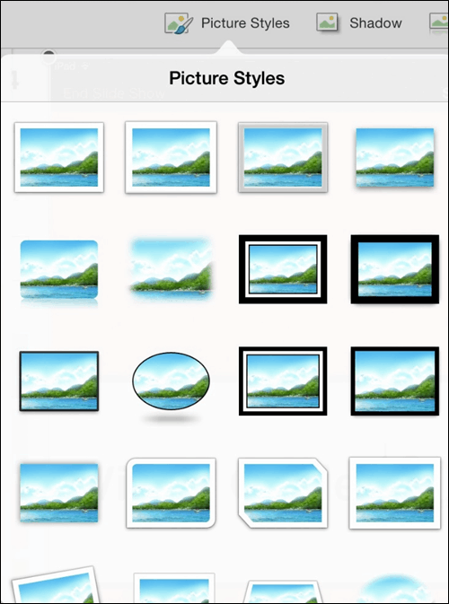 PowerPoint for iPad Pictures Tab #1 Picture Styles