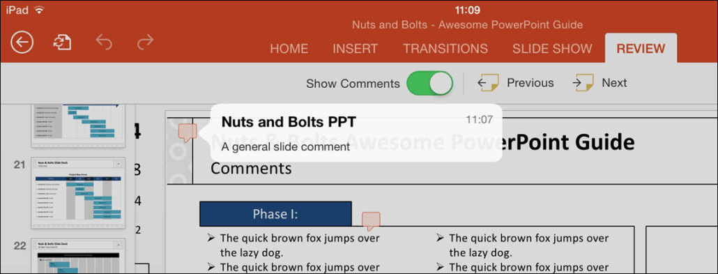 PowerPoint for iPad Review Tab #1 General Comment