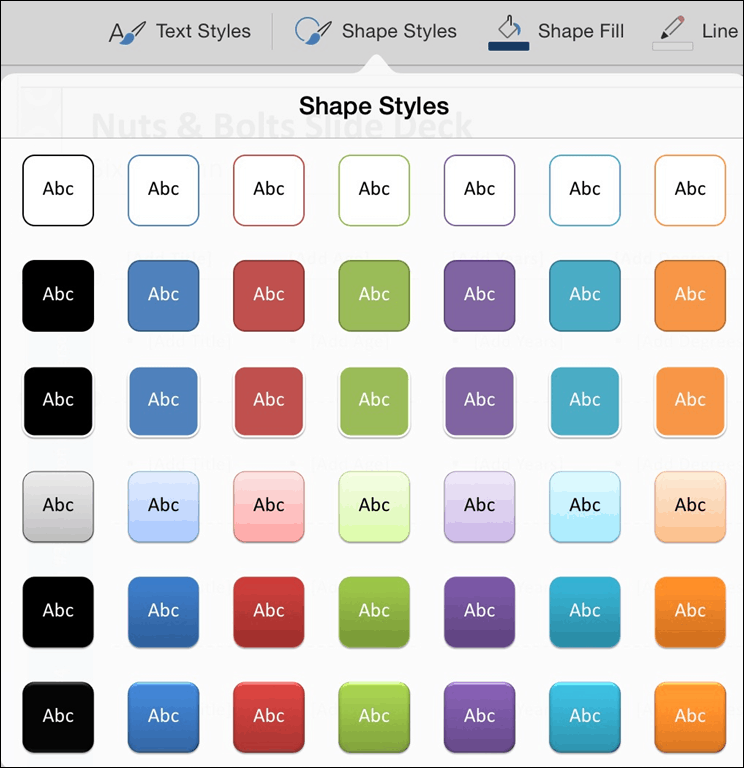 PowerPoint for iPad Shapes Tab #2 Shape Styles
