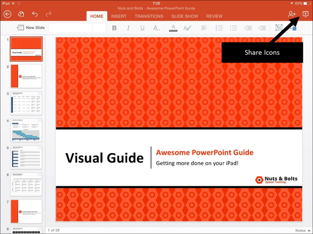 PowerPoint for iPad Share Icons 1