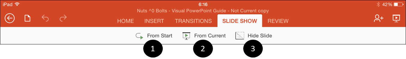 PowerPoint for iPad Slide Show Mode Icons